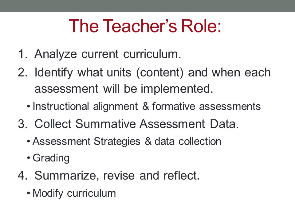 The Teacher's Role: Analyze current curriculum.
