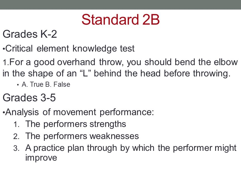 Standard 2B Grades K-2 Grades 3-5 Critical element knowledge test