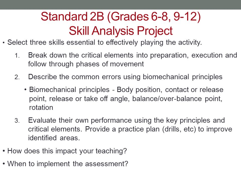 Standard 2B (Grades 6-8, 9-12) Skill Analysis Project