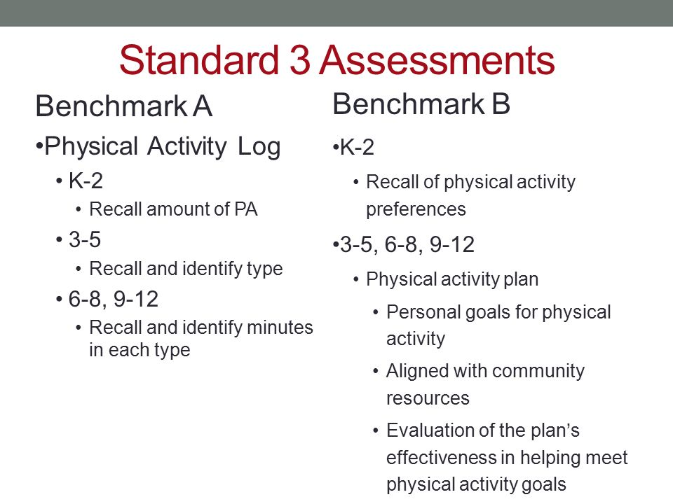 Standard 3 Assessments Benchmark B Benchmark A Physical Activity Log