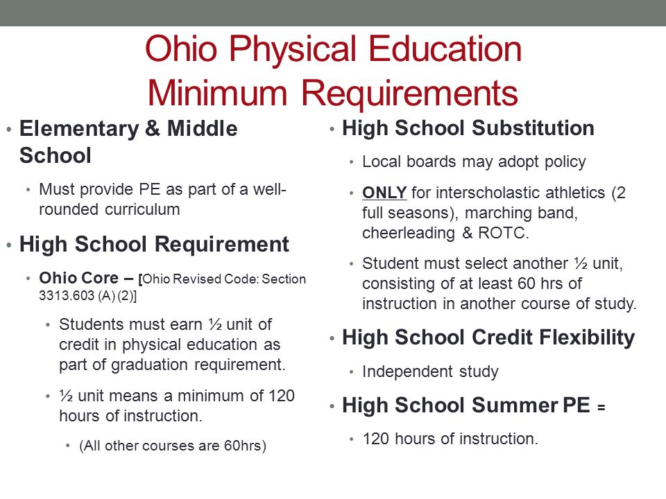 Ohio Physical Education Minimum Requirements