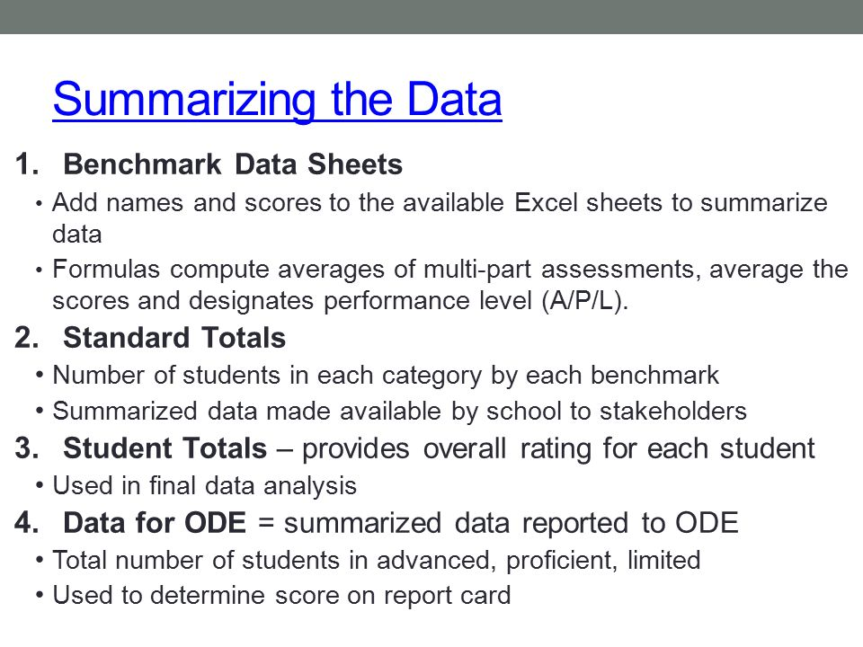 Summarizing the Data Benchmark Data Sheets Standard Totals
