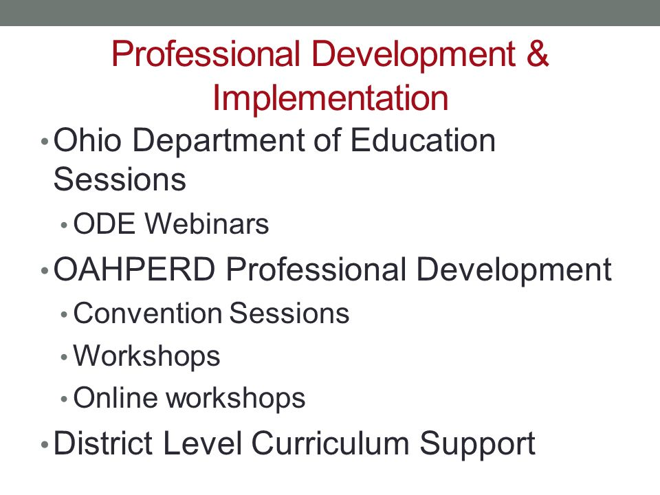 Professional Development & Implementation