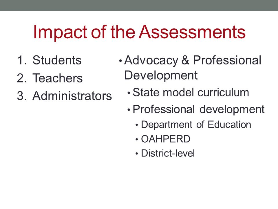 Impact of the Assessments