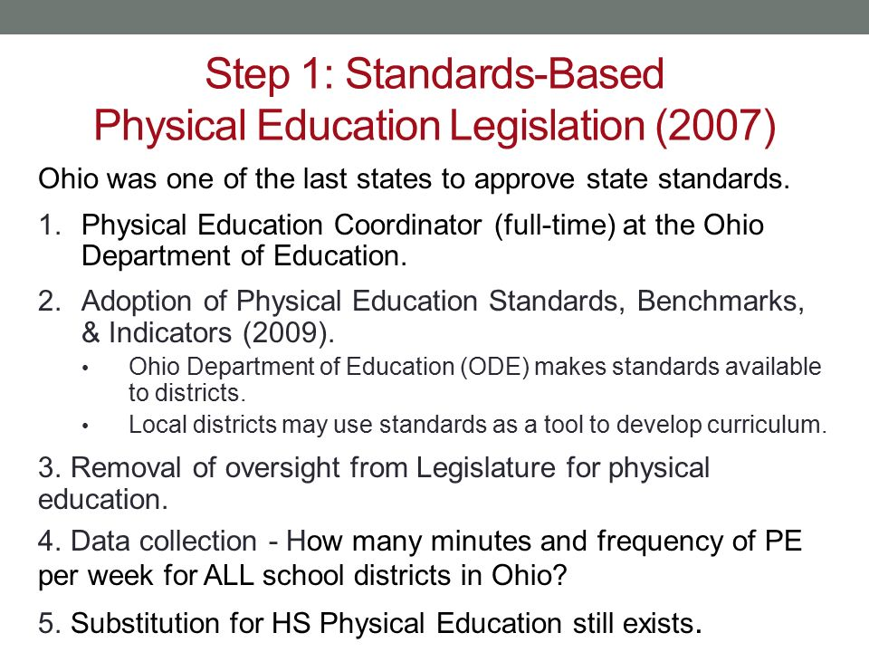 Step 1: Standards-Based Physical Education Legislation (2007)