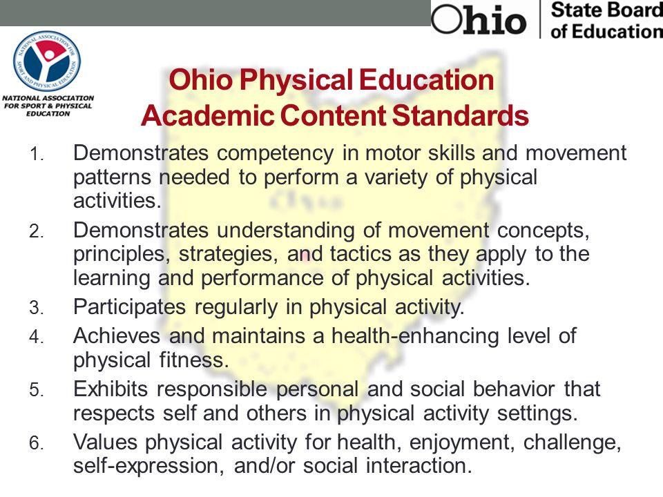Ohio Physical Education Academic Content Standards