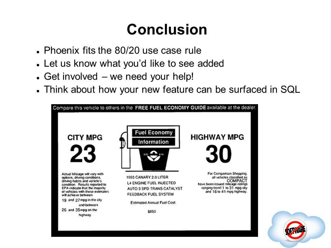 Conclusion Phoenix fits the 80/20 use case rule