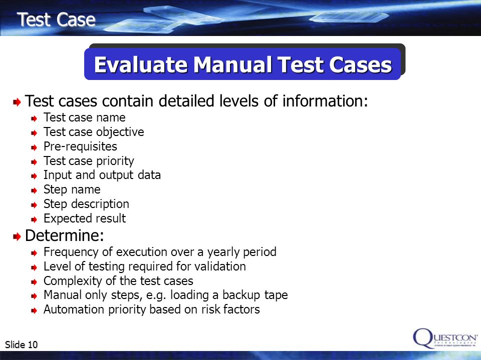 Evaluate Manual Test Cases