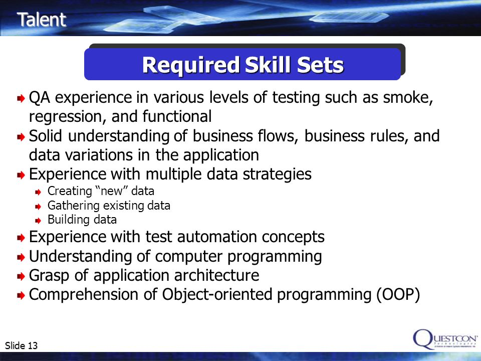 Required Skill Sets Talent