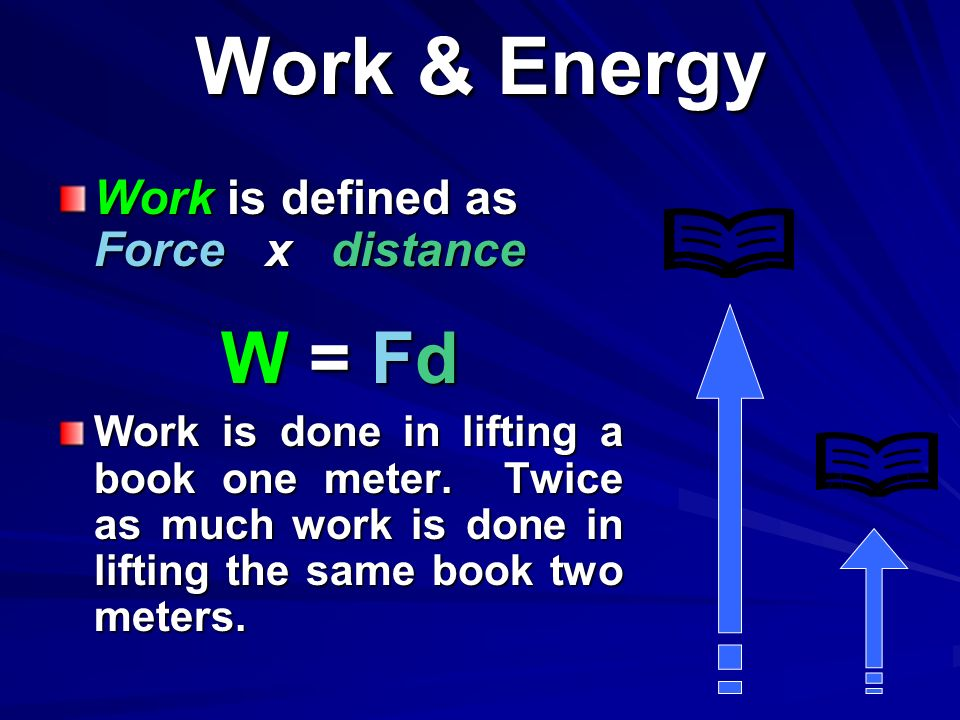 Work & Energy W = Fd Work is defined as Force x distance