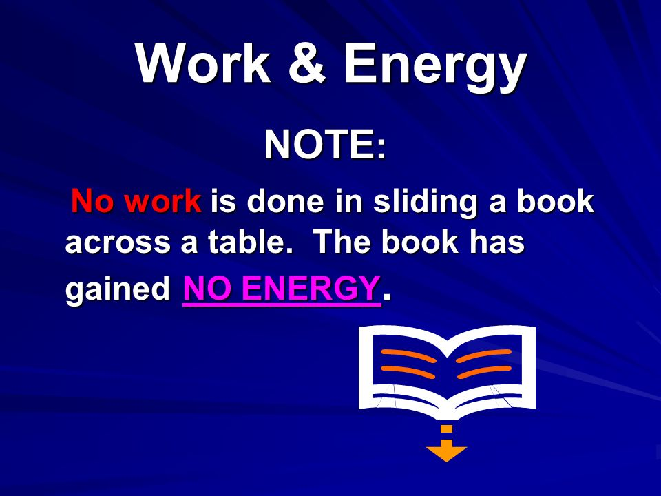 Work & Energy NOTE: No work is done in sliding a book across a table.