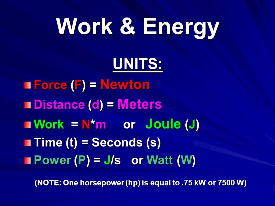 Work & Energy UNITS: Force (F) = Newton Distance (d) = Meters