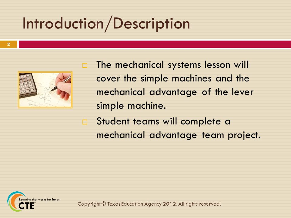 2 Introductiondescription The Mechanical Systems Lesson Will Cover Simple Machines And Advantage: Mechanical Advantage Of Simple Machines Worksheet At Alzheimers-prions.com