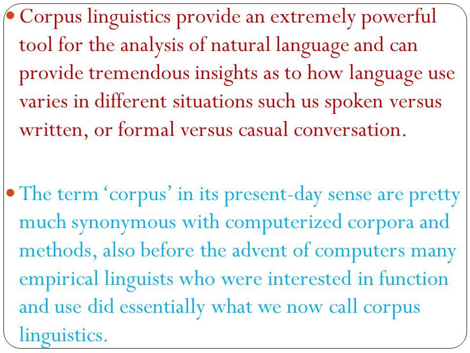 Cs4705 corpus linguistics and machine learning techniques. Ppt.