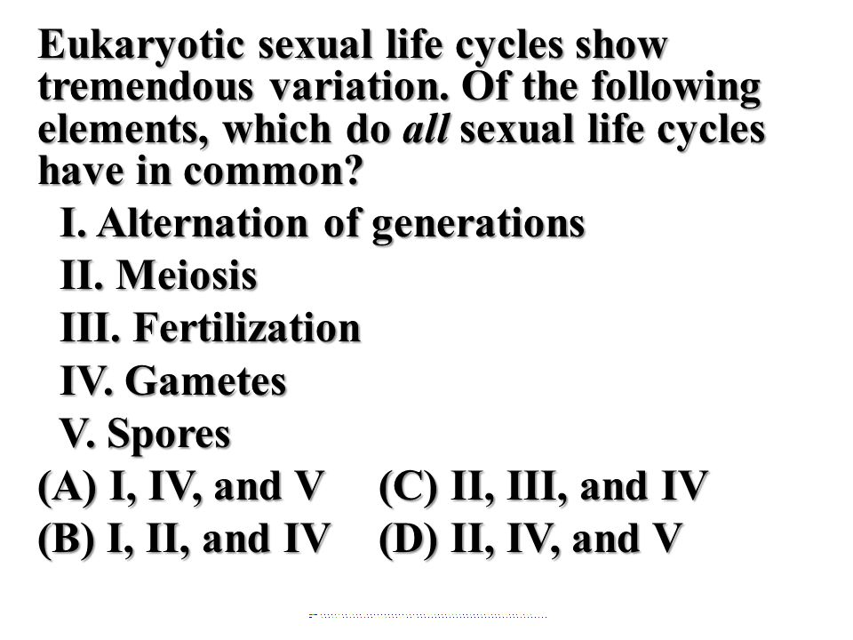 Eukaryotic sexual life cycles show tremendous