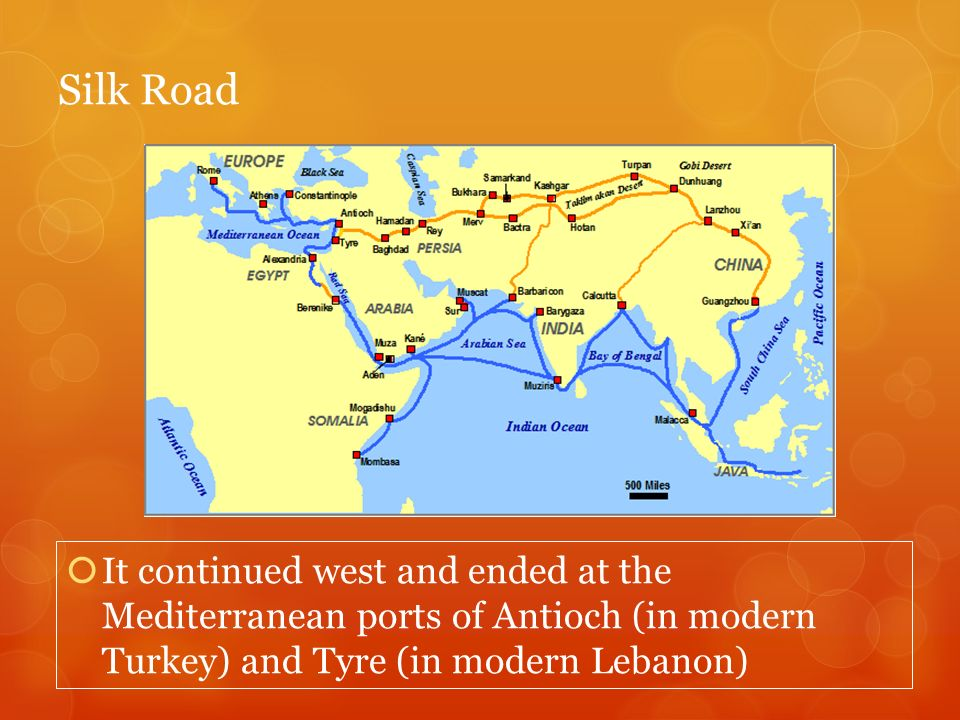 Silk Road It continued west and ended at the Mediterranean ports of Antioch (in modern Turkey) and Tyre (in modern Lebanon)