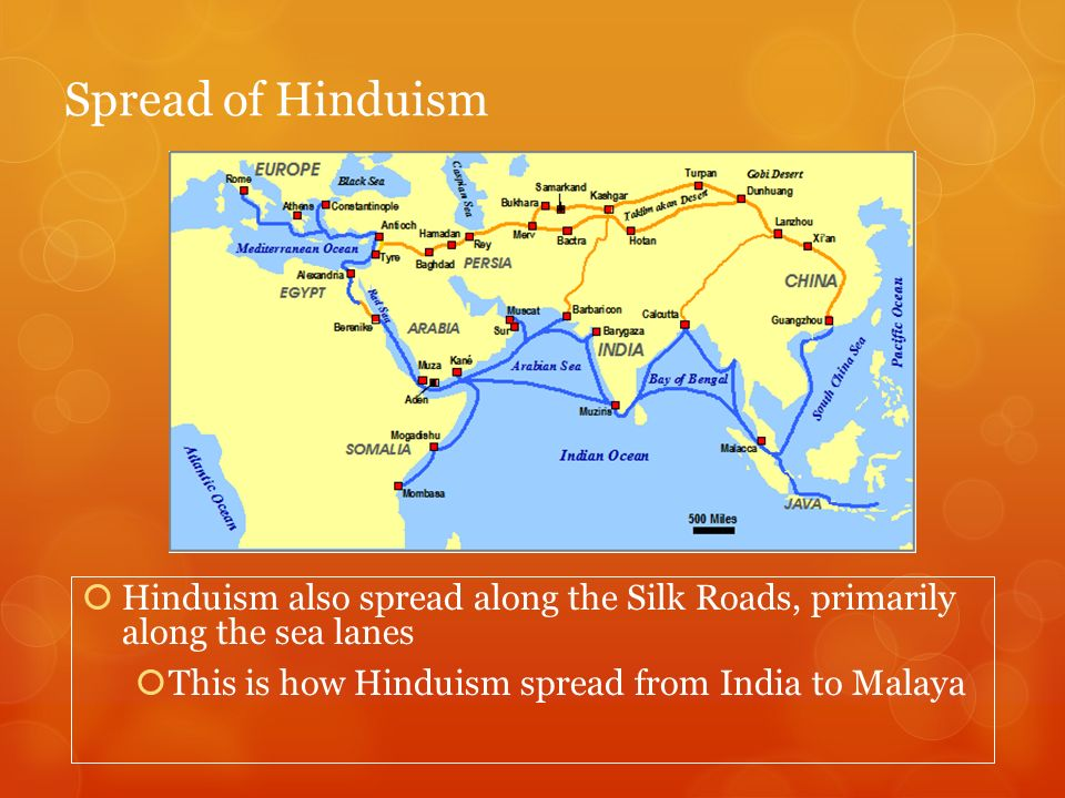 Spread of Hinduism Hinduism also spread along the Silk Roads, primarily along the sea lanes.