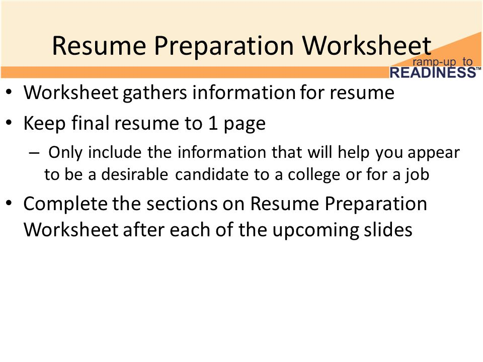 Building a Resume Resume Sections 10th Grade Advisory Activity ...