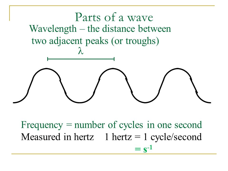 Parts of a wave Wavelength – the distance between