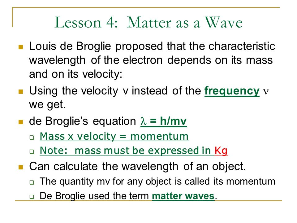 Lesson 4: Matter as a Wave