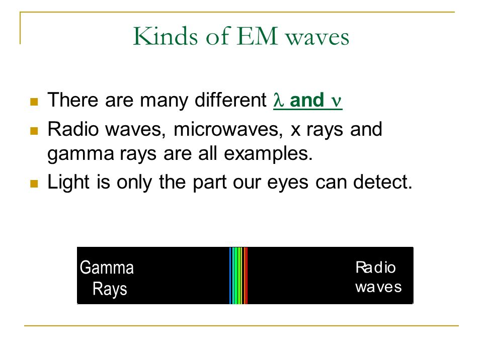 Kinds of EM waves There are many different l and n