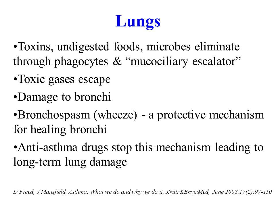 Lungs Toxins, undigested foods, microbes eliminate through phagocytes & mucociliary escalator Toxic gases escape.