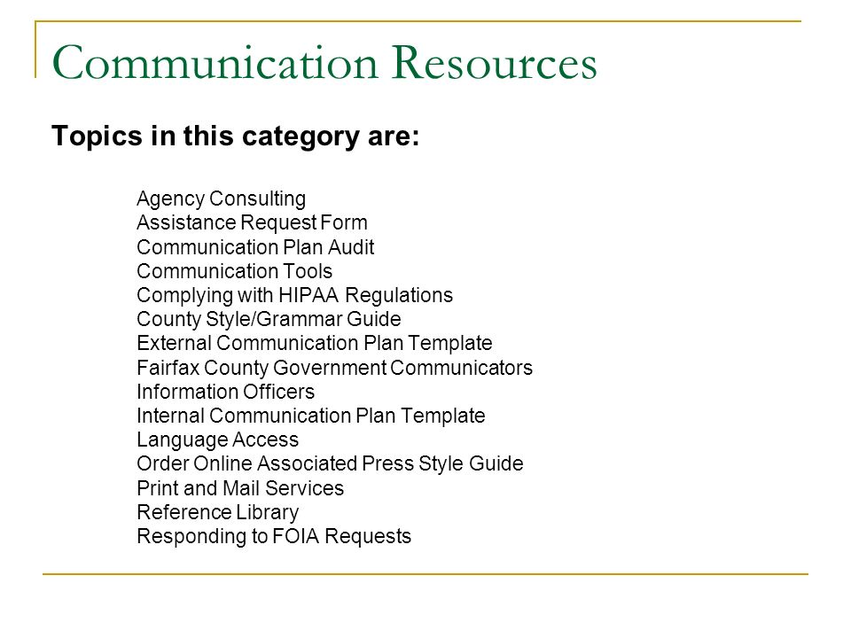 An introduction to the fairfax county communication strategy ppt 11 communication resources maxwellsz