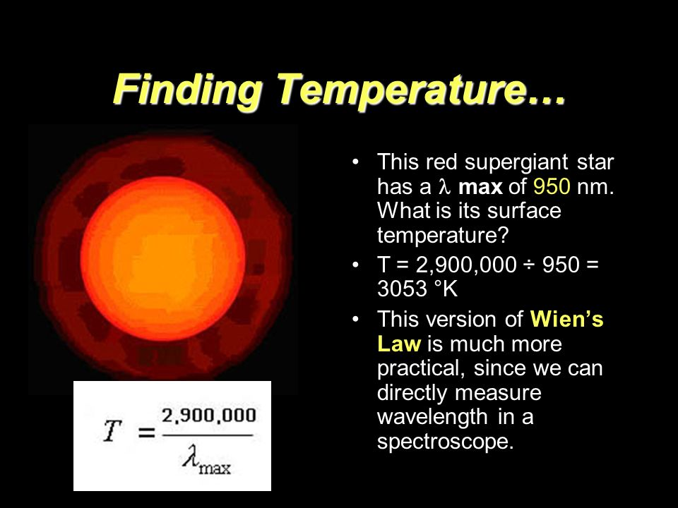 Finding Temperature… This red supergiant star has a max of 950 nm. What is its surface temperature