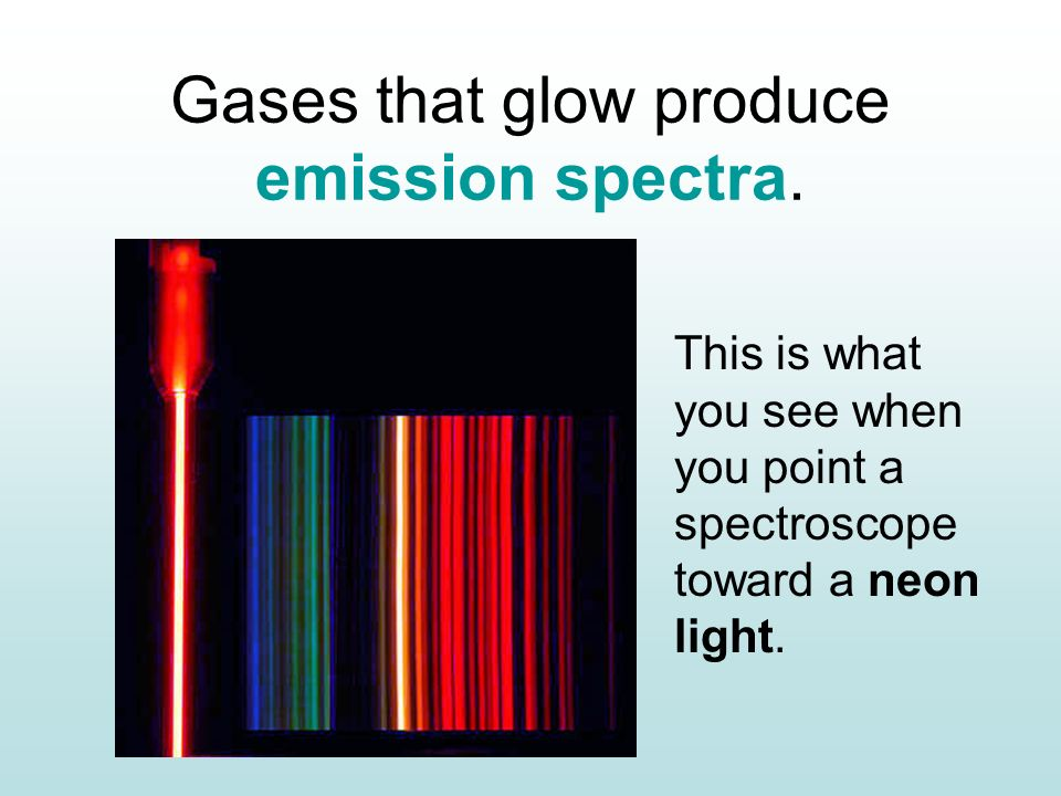 Gases that glow produce emission spectra.