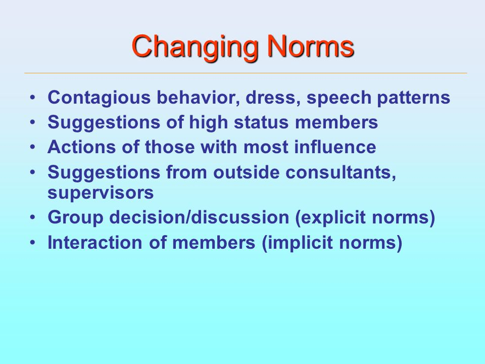 Changing Norms Contagious behavior, dress, speech patterns