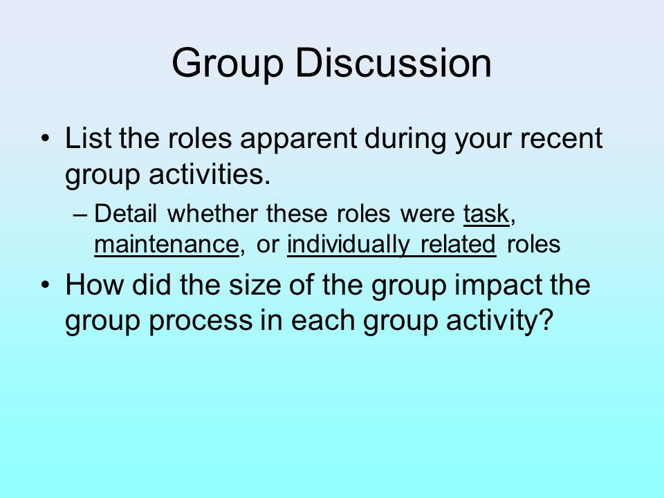 Group Discussion List the roles apparent during your recent group activities.