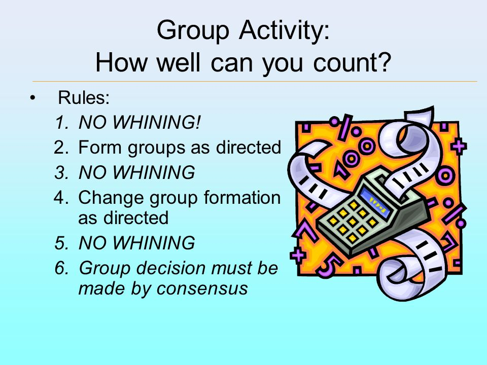 Group Activity: How well can you count