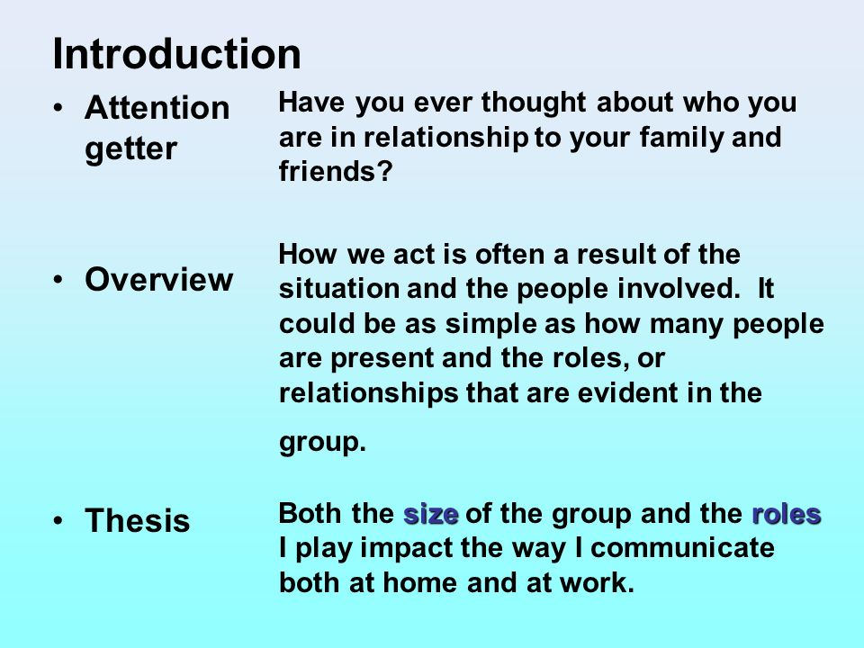 Introduction Attention getter Overview Thesis