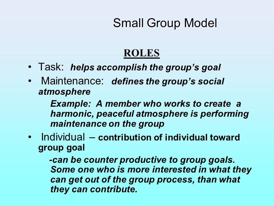 Small Group Model ROLES Task: helps accomplish the group's goal