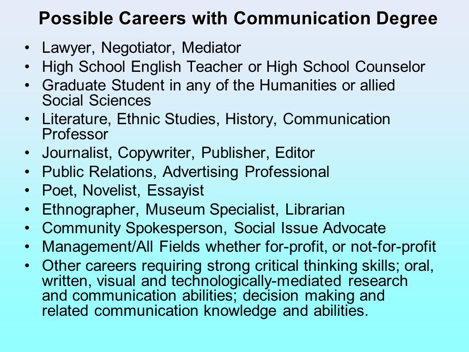 Possible Careers with Communication Degree