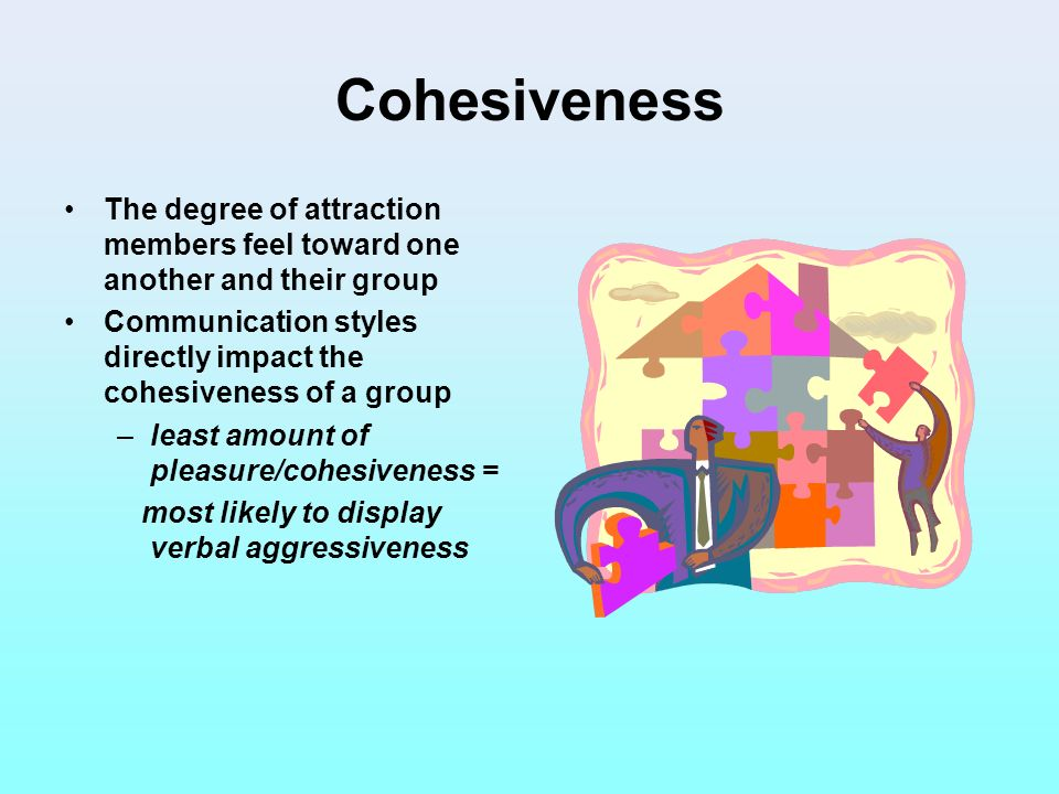 Cohesiveness The degree of attraction members feel toward one another and their group.