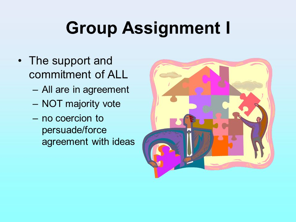 Group Assignment I The support and commitment of ALL