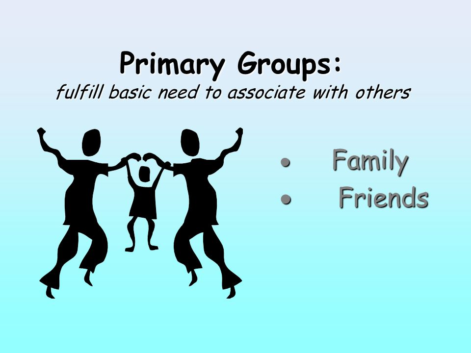 Primary Groups: fulfill basic need to associate with others