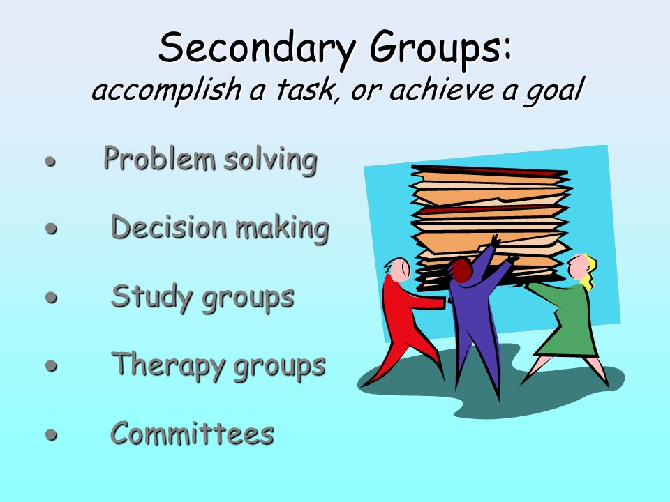 Secondary Groups: accomplish a task, or achieve a goal