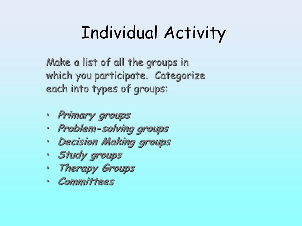 Individual Activity Make a list of all the groups in