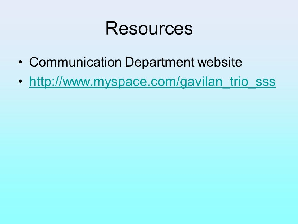 Resources Communication Department website
