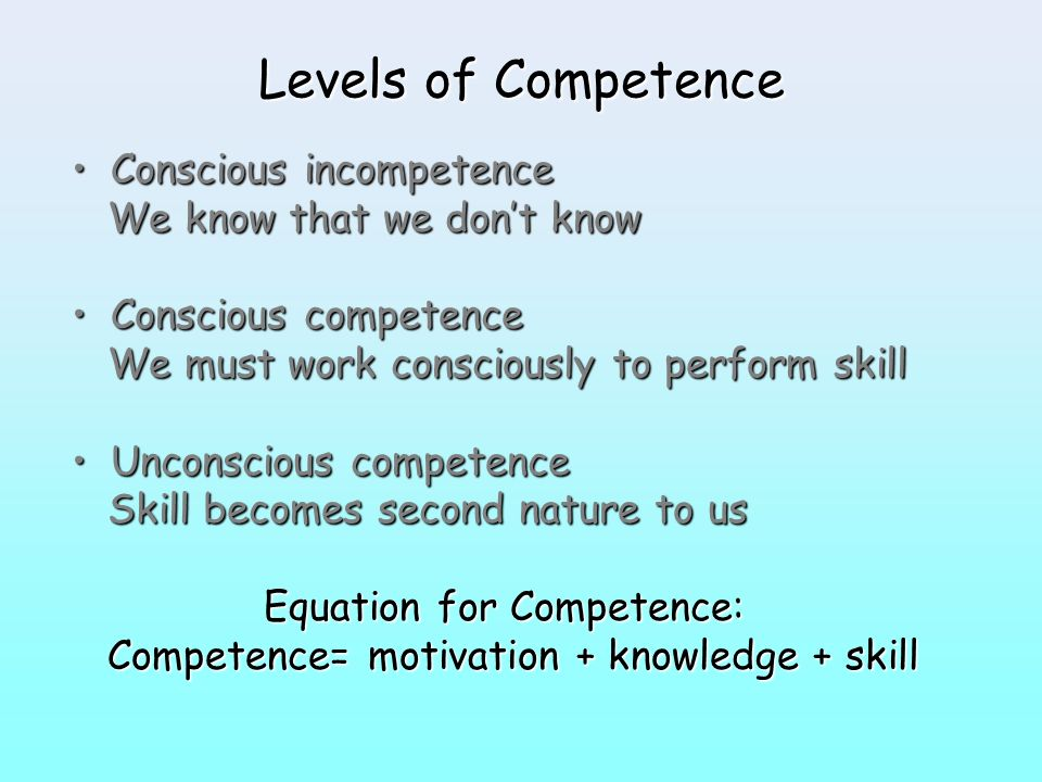 Equation for Competence: