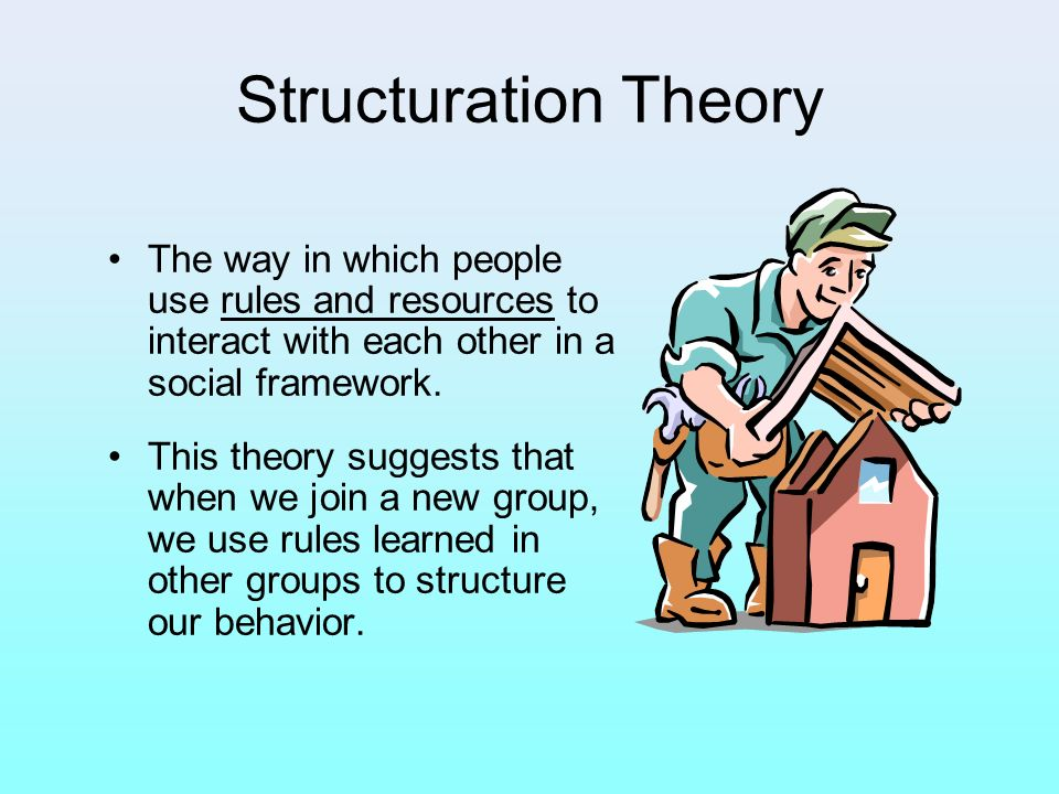 Structuration Theory The way in which people use rules and resources to interact with each other in a social framework.