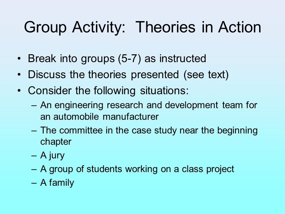 Group Activity: Theories in Action