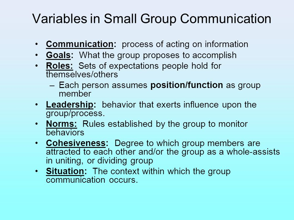 Variables in Small Group Communication