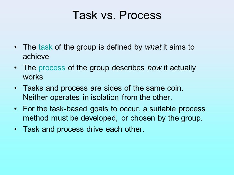 Task vs. Process The task of the group is defined by what it aims to achieve. The process of the group describes how it actually works.