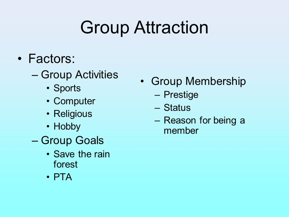 Group Attraction Factors: Group Activities Group Membership