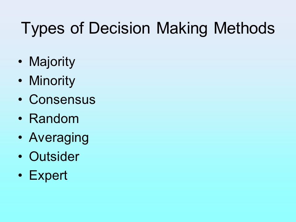 Types of Decision Making Methods