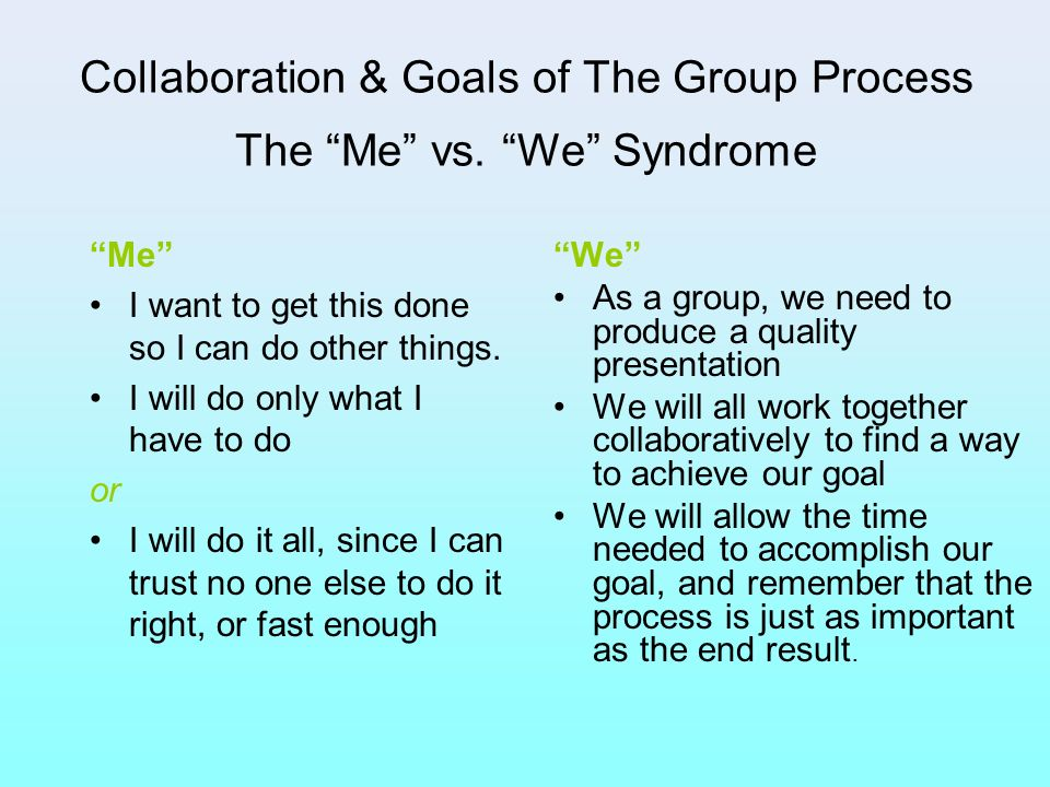 Collaboration & Goals of The Group Process The Me vs. We Syndrome