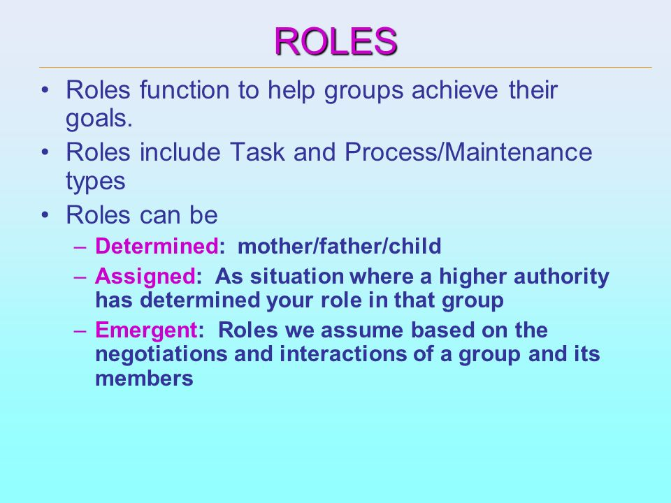ROLES Roles function to help groups achieve their goals.